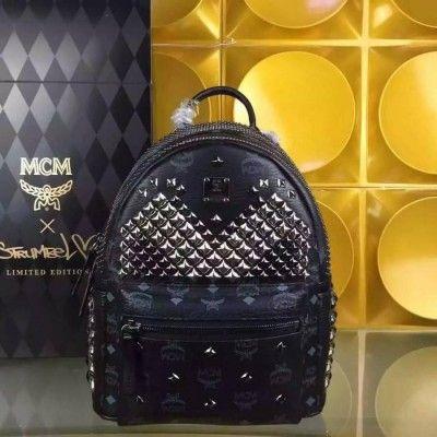 MCM Medium Stark Exclusive M Studded Backpack In Black