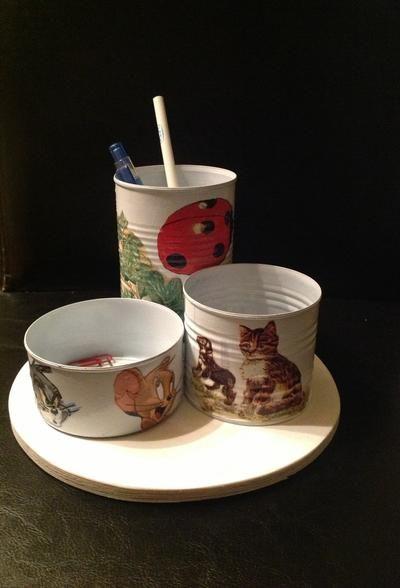 Blikken dozen versieren met servetten