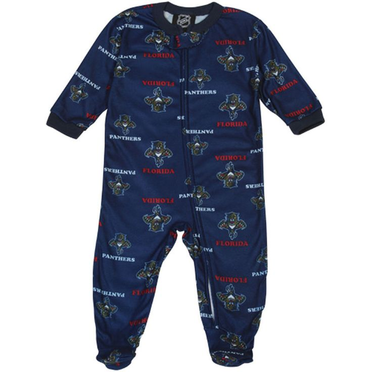 Florida Panthers Infant Full Zip Allover Print Coverall - Navy Blue