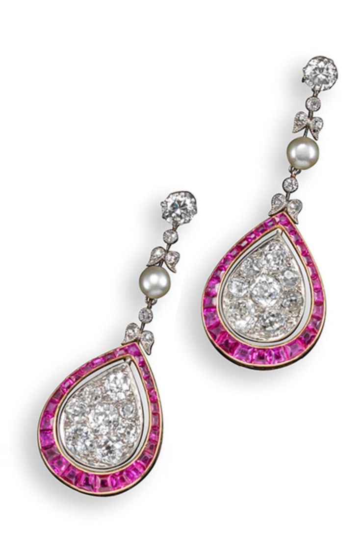 The eureka diamond - A Pair Of Belle Epoque Ruby And Diamond Drop Earrings The Articulated Lines Of Graduated Circular Cut Diamonds And Pearls Suspend Pear Shaped Lower