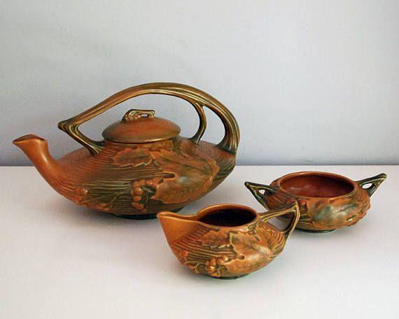 Roseville Bushberry Tea Set 1940s Art Pottery Terra Cotta