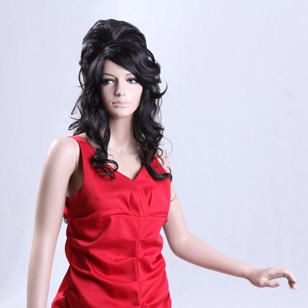 NAWOMI Black Long curly 100% Kanekalon Synthetic Hair Wig Lady Natural Soft Capless Fashional