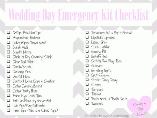 Bridal emergency Kit, I think it is time to start putting this together
