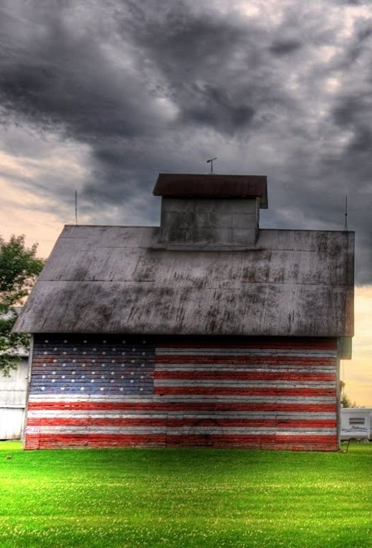 Old Glory On Side Of Barn