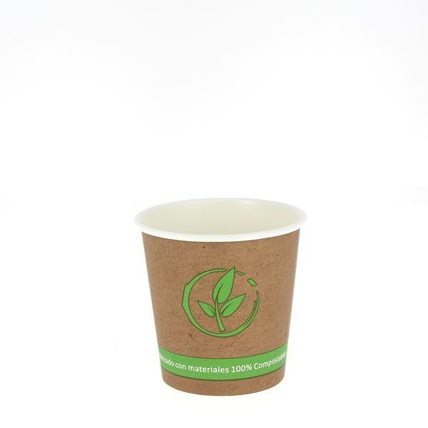 Vaso de cartón kraft capacidad de 118 ml. Material kraft. vasos de kraft. bebidas