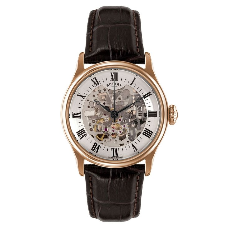 Beaverbrooks | Rotary Skeleton Rose Gold Plated Mechanical Men's Watch #Beaverbrooks #FathersDay #Gifts