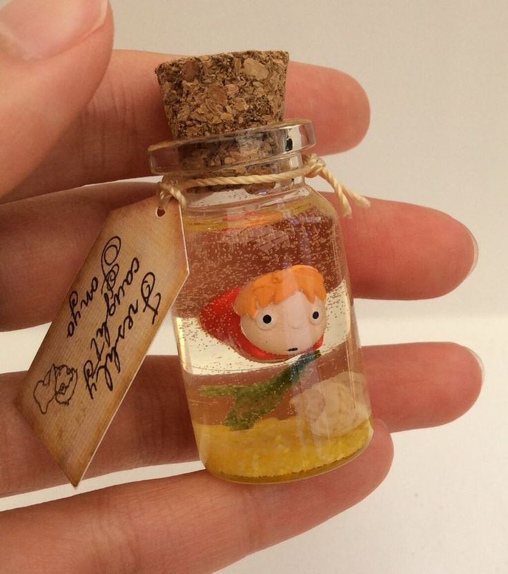 Handmade Gift Studio Ghibli Ponyo on the Cliff by the Sea Glass Bottle Shell