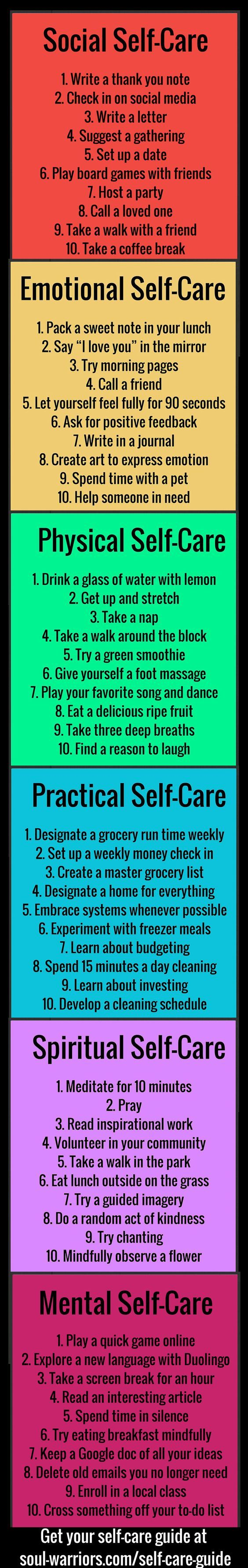 Self care tips for all aspects of your life. Write your own. Set goals. Use them for moving forward, changing and for coping skills when under pressure.