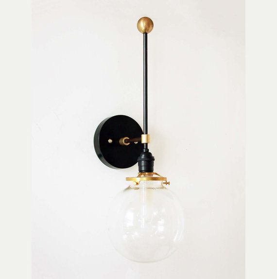 Mid Century Inspired Wall Black Sconce Clear by DLdesignworks