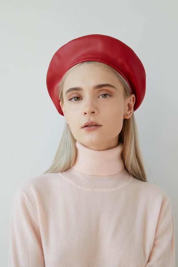 02c0693559b JESSICA Red eco leather beret