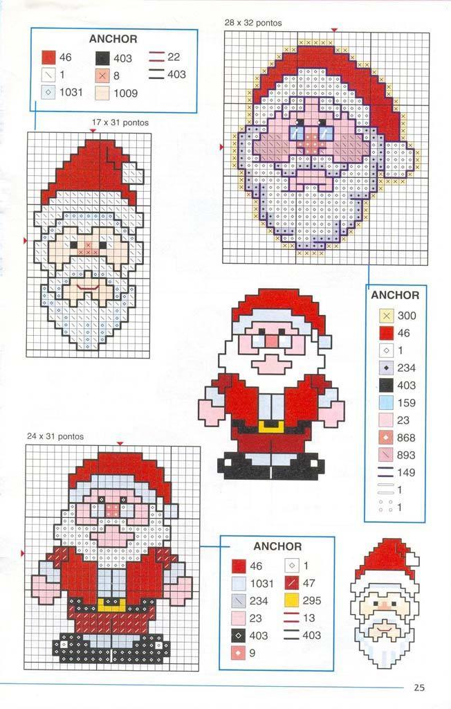 Вышивка крестом / Cross stitch : Схемы вышивки Дед Мороза\Санта Клауса