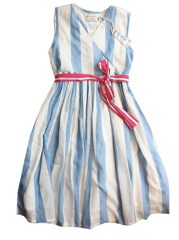 Blue & white stripe dress with pink sash.