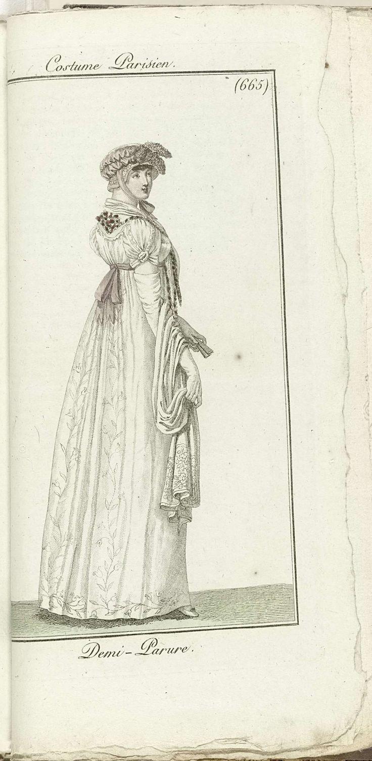 Horace Vernet   Journal des Dames et des Modes, Costume Parisien, 1805, An 13 (665) Demi-Parure, Horace Vernet, Pierre de la Mésangère, 1805   Witte japon , geborduurd met bladranken. Korte pofmouwen, halsdoek geborduurd met rode bloemetjes. Strohoed met roze lint en toef bloemen. Witte alnge sjaal, gevouwen waaier.