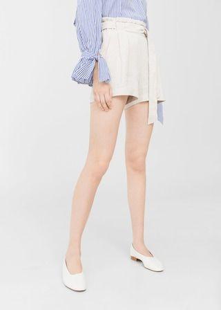Linnen high-waist shorts | MANGO