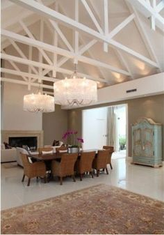 chandeliers in exposed trusses - Google Search