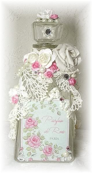 Vintage Embellished Decanter Bottle with Pink Roses,  French-Inspired Perfume Label, Pearls & Sparkle!  45.00