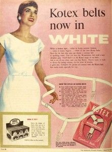 Before there were adhesive-backed disposables, there were…. belts. Some of our older readers may even remember using these! Even younger readers have likely heard of belted sanitary napkins from the coming-of-age classic Are You There God? It's Me, Margaret by Judy Blume.  This is an Australian ad from 1956, announcing the launch of Kotex belts in fashion-forward WHITE.