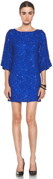 ALICE + OLIVIA-Lari Bell Sleeve Sequin Tunic Dress in Cobalt