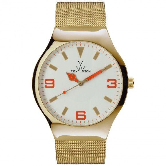 Unisex Gold/Orange Mesh Band Watch