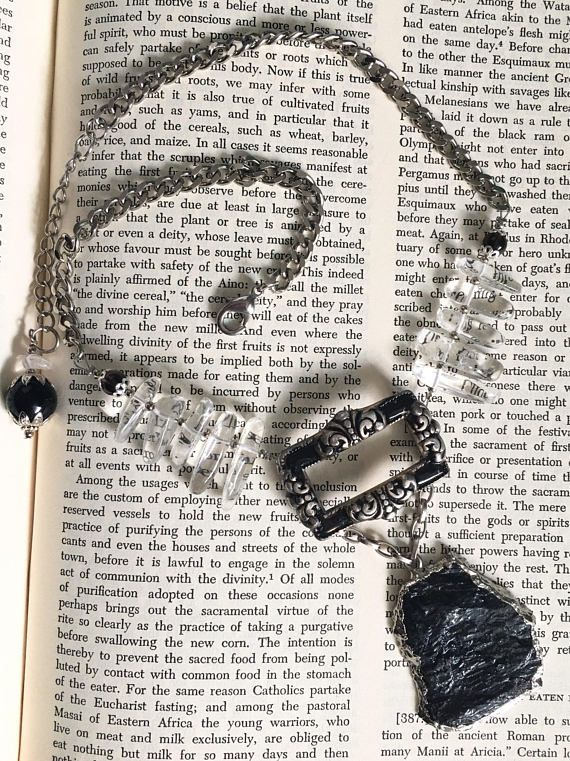 Vintage Assemblage Black Tourmaline Necklace Quartz Crystal