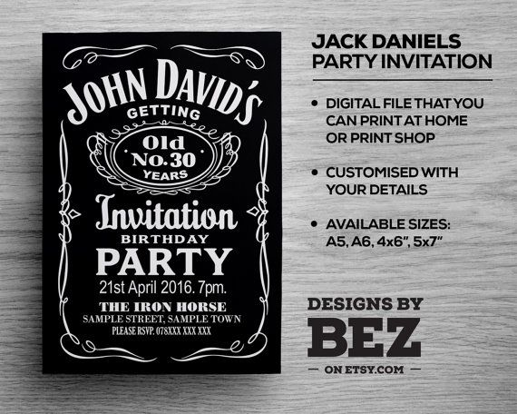 Jack Daniels Whiskey Style Party Invite - Personalised invitation for your birthday/occasion. 21st, 30th, 40th, 50th, 60th, Stag Do....