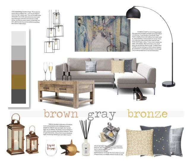 brown, gray, bronze by levai-magdolna on Polyvore featuring interior, interiors, interior design, home, home decor, interior decorating, Waterford, Slant, Rizzy Home and Antica Farmacista