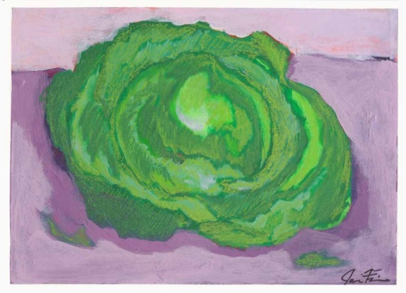 """HEAD of LETTUCE"" Original MIXED MEDIA (acrylic and pastel) Size 6 3/4"" x 9 1/4"" by JARA FRISK: Pastel Cerveza Tennis"