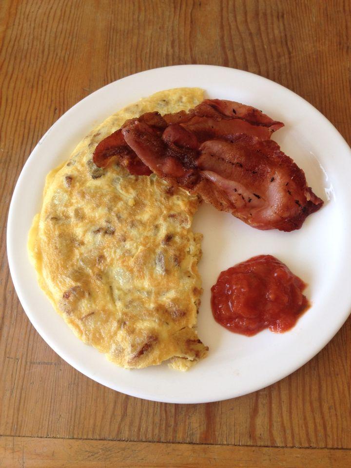 Spanish omelette, bacon, tomato salsa