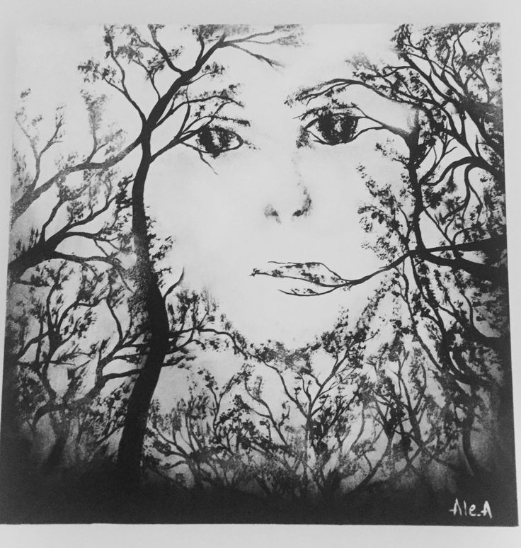 black and White woman face/tree abstract black and white/woman face painting wall decor by AllexaArt on Etsy