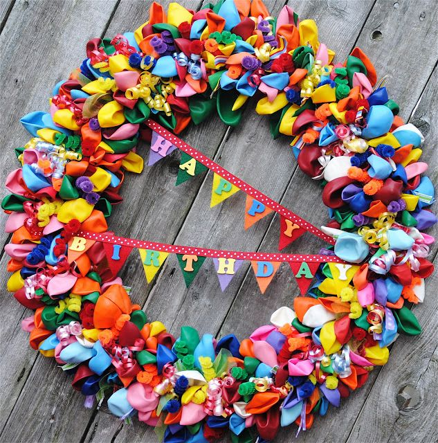 Balloon Birthday Wreath {Pinterest Challenge Project} - Happy-Go-Lucky // I could turn this into a paper plate preschool project for just about any holiday. <3