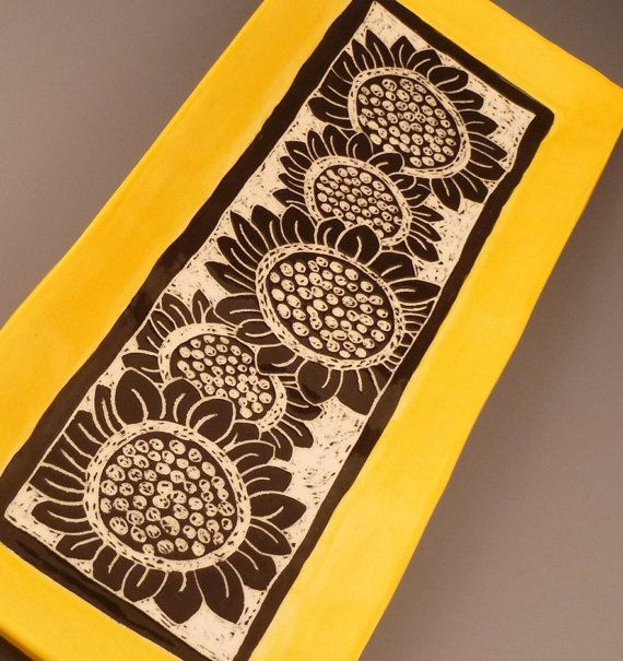 Graphic Sunflower Carved Plate with Sunshine by ShootTheMoon, $45.00