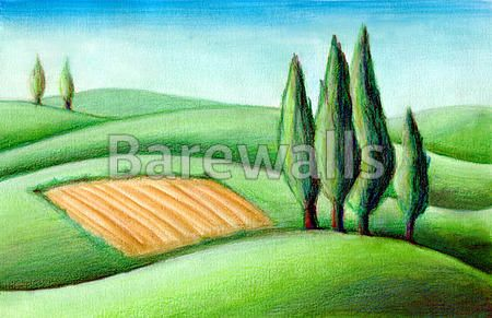 """Tuscan hills"" - Landscape Illustration posters and prints available at Barewalls.com"