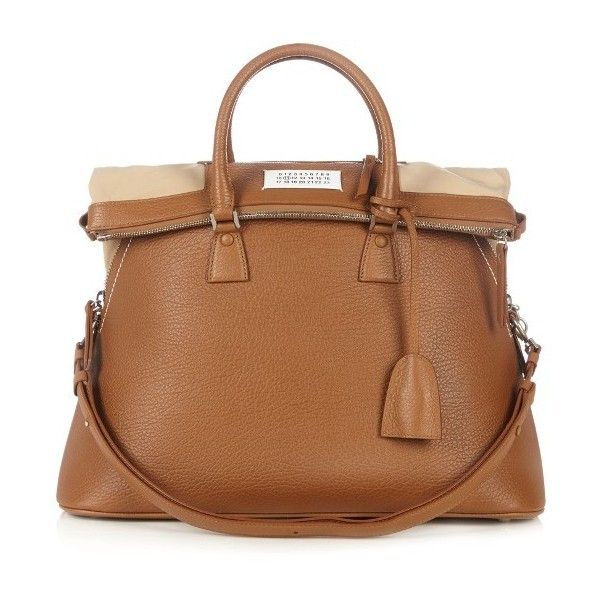 Maison Margiela 5ac grained-leather tote ($2,337) ❤ liked on Polyvore featuring bags, handbags, tote bags, camel, brown handbags, tote purses, handbags totes, camel handbags and handbags tote bags