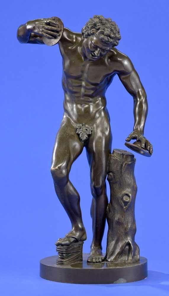 Tanzender Faun Bronze. Signiert: Duchemin. H 60 cm.