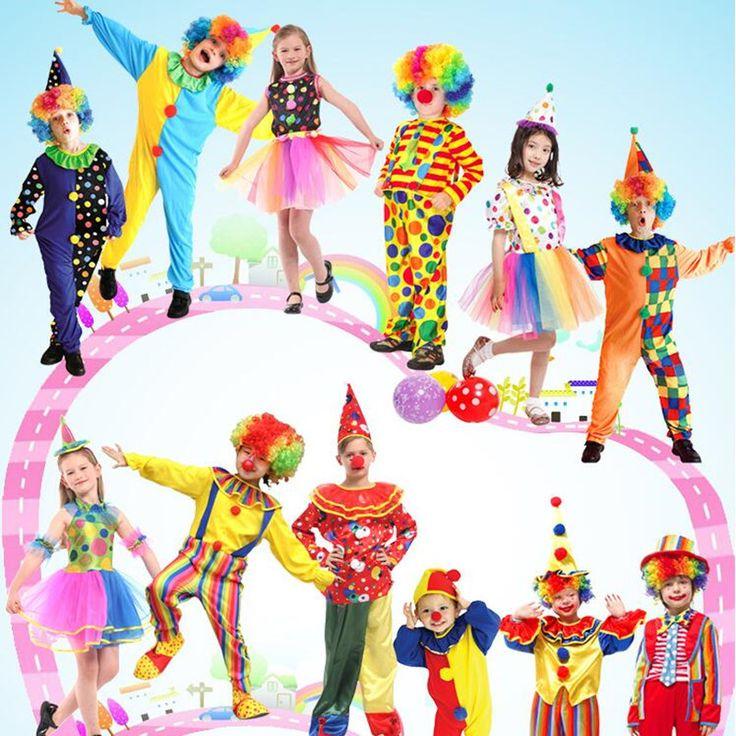 2017 Красочные Клоун Косплей Костюм Смешной Маг Сцена Костюмы Для Детей Мальчики Девочки Хэллоуин Праздничные Атрибуты купить на AliExpress