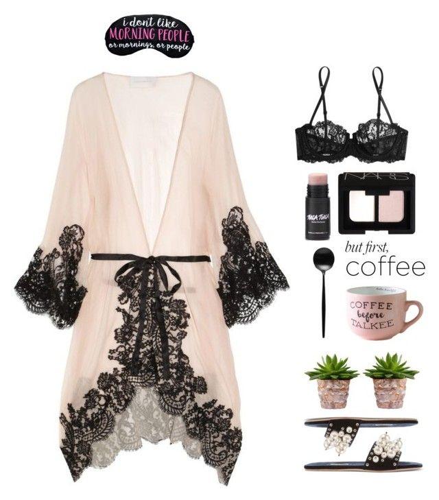 """Caffeine Fix: Coffee Break"" by prettynposh2 ❤ liked on Polyvore featuring Rosamosario, NARS Cosmetics, Cutipol, La Perla, Miu Miu and coffeebreak"