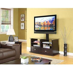 Keep your TV and components organized with the Whalen TV Stand with Swinging Mount. The swivel feature lets you position your  TV just where you want it