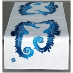 could do this with crab stencil: Seahor Tables, Seahor Indigo, Indigo Tables, Sea Hors, Peterson Seahorses, Seahorses Tables, Tables Runners, Dermond Peterson, Table Runners