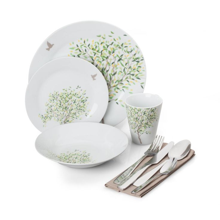 """36-PIECE NATURE PATTERN COMPLETE DINNERWARE SET, SERVICE FOR 4 Glossy white porcelain plates, with calming green and brown accents, complement any wooden tabletop. Suitable for formal dinners with guests, casual dinners with family & friends, durable enough for everyday use. Includes 4 each of 10 ½"""" dinner plate, 8"""" soup plate,7 ½"""" salad plate, mug, stainless steel flatware (dinner fork, dinner spoon, teaspoon and dinner knife) and textile place mats. Plates are microwave & dishwasher safe."""