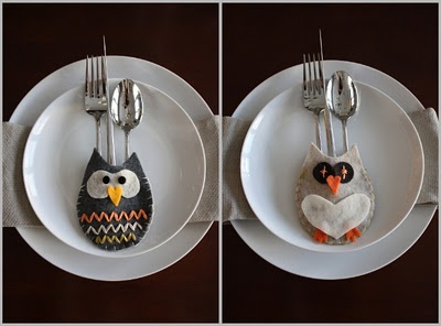 how to make a felt owl silverware holder
