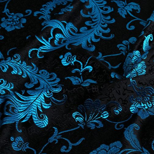 Tissu chinois bleu et noir. Tissu paon. Vendu par 50cm. SBJ100006 : Tissus Habillement, Déco par fabricasians