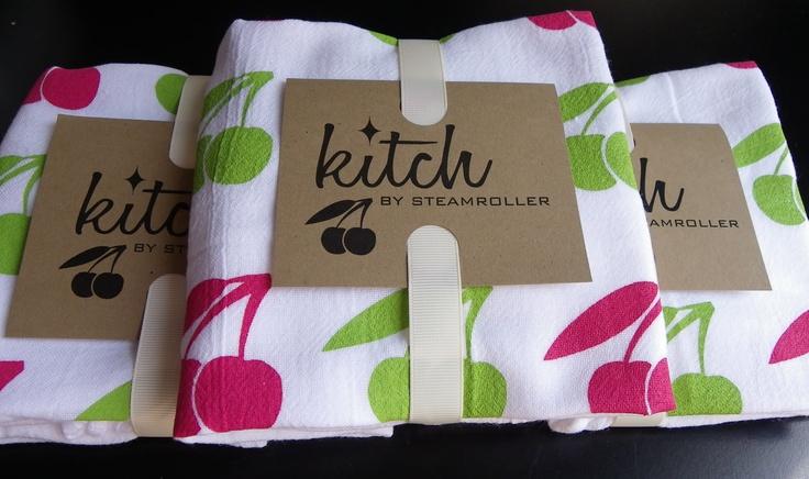 Retro Cherries Flour Sack Tea Towel Screen Printed