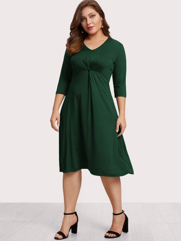 V Neckline Twist Dress Online Shein Offers More To