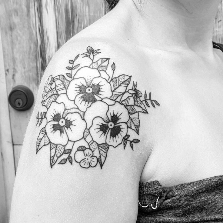 black floral pansy shoulder tattoo illustration