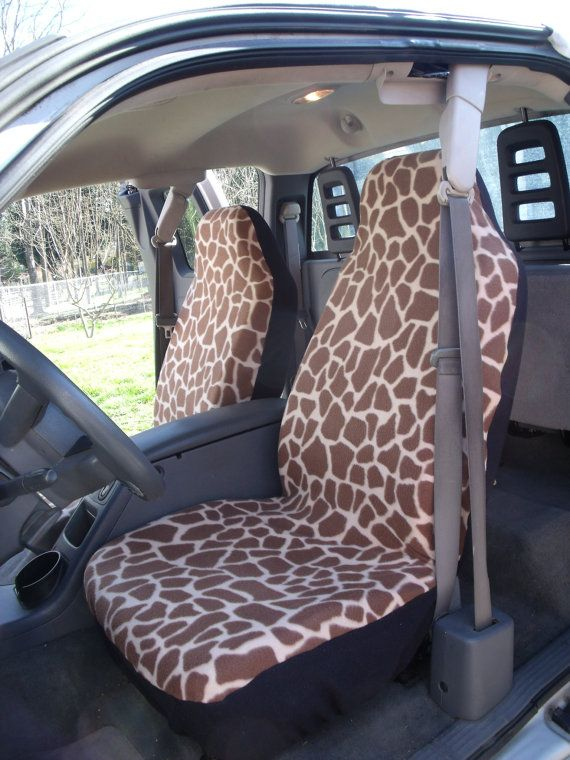 A Set of Large Giraffe Prints Seat Cover and Steering ...
