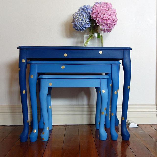 Painted Nest of Tables using Annie Sloan chalk paint. See how the dots arrived on Room Full of Sun blog