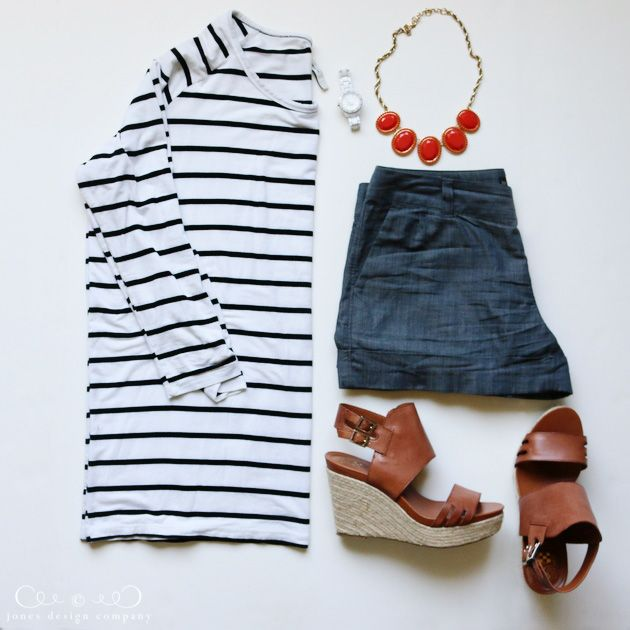 8 favorite outfits for summer - striped shirt, shorts + wedge sandals / jones design company