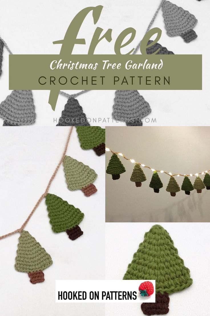 Free Crochet Christmas Tree Garland Pattern Crochet Christmas Trees Pattern Christmas Crochet Patterns Christmas Crochet Patterns Free