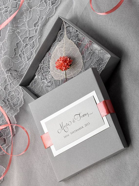 Vintage Lace Coral and Grey Box Wedding Invitation,