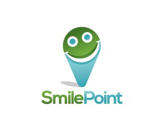Smile Point Logo design - Logo design of a locator symbol with a smiling face inside it.  Price $250.00